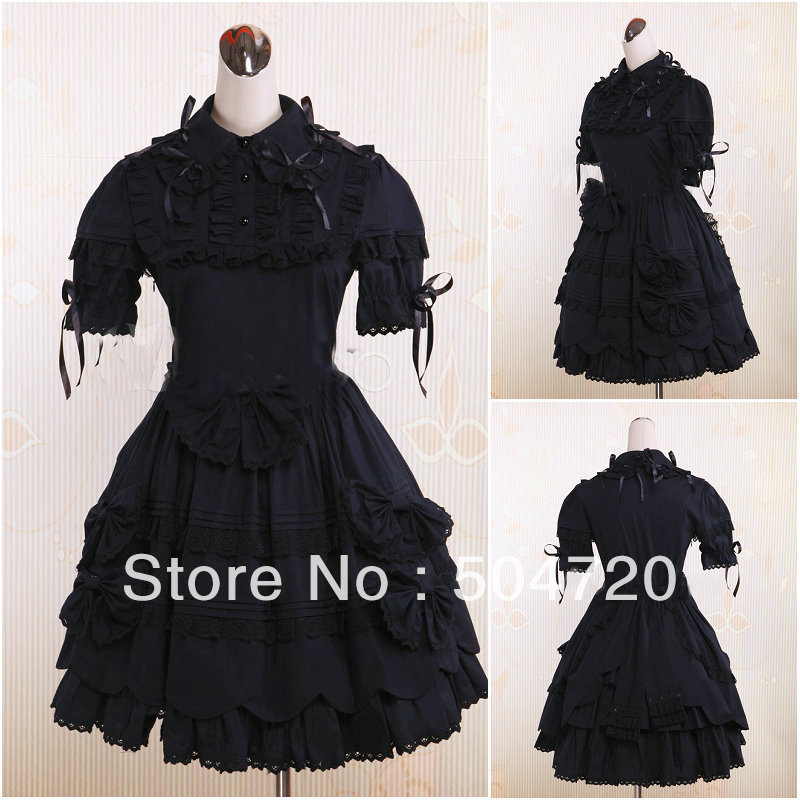 Freeshipping!on sale! V-1041 Black Classic Halloween costumes Gothic Lolita Dress/victorian dress US6-26 XS-6XL