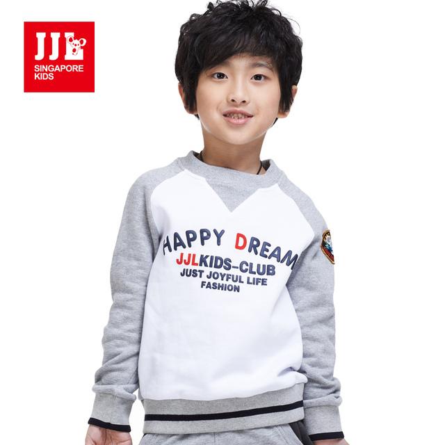Мальчики зимние sweatershirts круглым воротом письмо печати модный контрастность цвет мальчиков одежда 2015 модные мальчики одежда дети толстовки