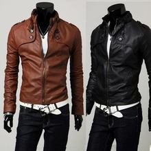 Men's Slim Leather Motorcycle Stand Collar Jacket Outerwear(China (Mainland))