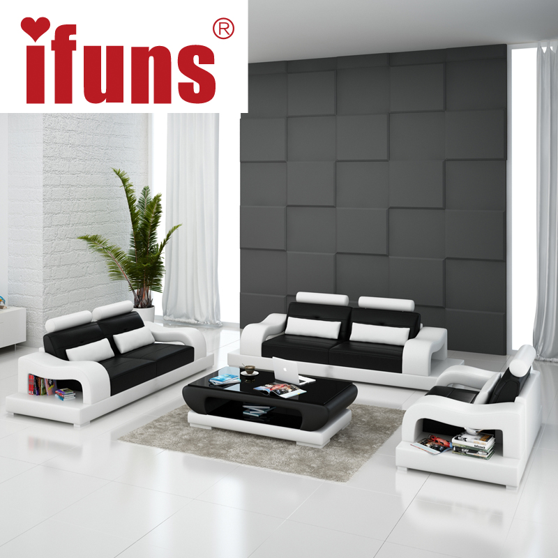 Ifuns 2016 new modern design american home living room furniture 1 2 3 big size genuine cow - Two sofa living room design ...