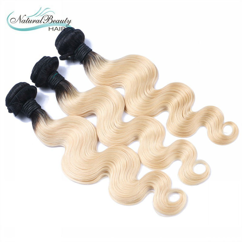 613 blonde virgin hair brazilian dark roots ombre blonde hair body wave 3pcs/lot ombre hair extension free shipping large stock(China (Mainland))