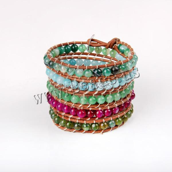 Free shipping!!!Wrap Bracelet,High quality, Wax, with  &amp; Zinc Alloy, platinum color plated, 5-strand, 6mm<br><br>Aliexpress