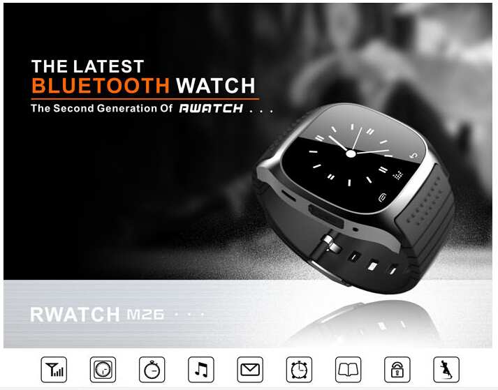 produto 2015 RWATCH M26 Bluetooth Smart Watch with Dial / Call Answer  Music Player / Anti-lost / Passometer / Thermometer for Android