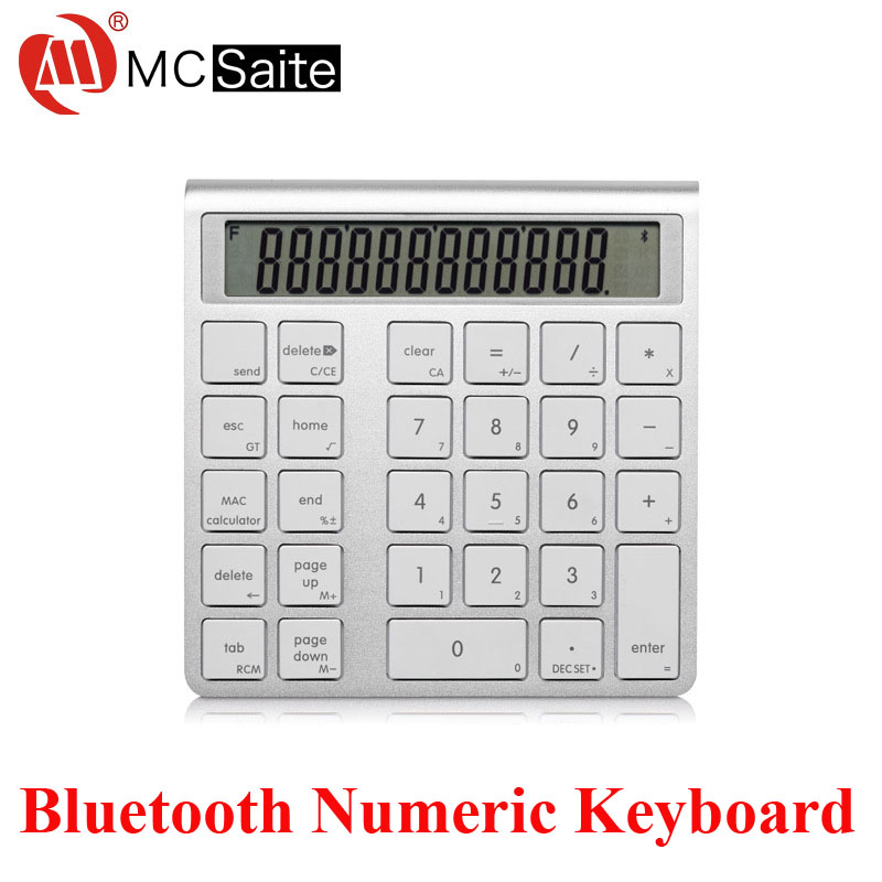 Aluminum Wireless Bluetooth Numeric Keyboard Mini Keypad with Screen Built-in Calculator for iMac/MacBook/Windows PC/Laptop(China (Mainland))