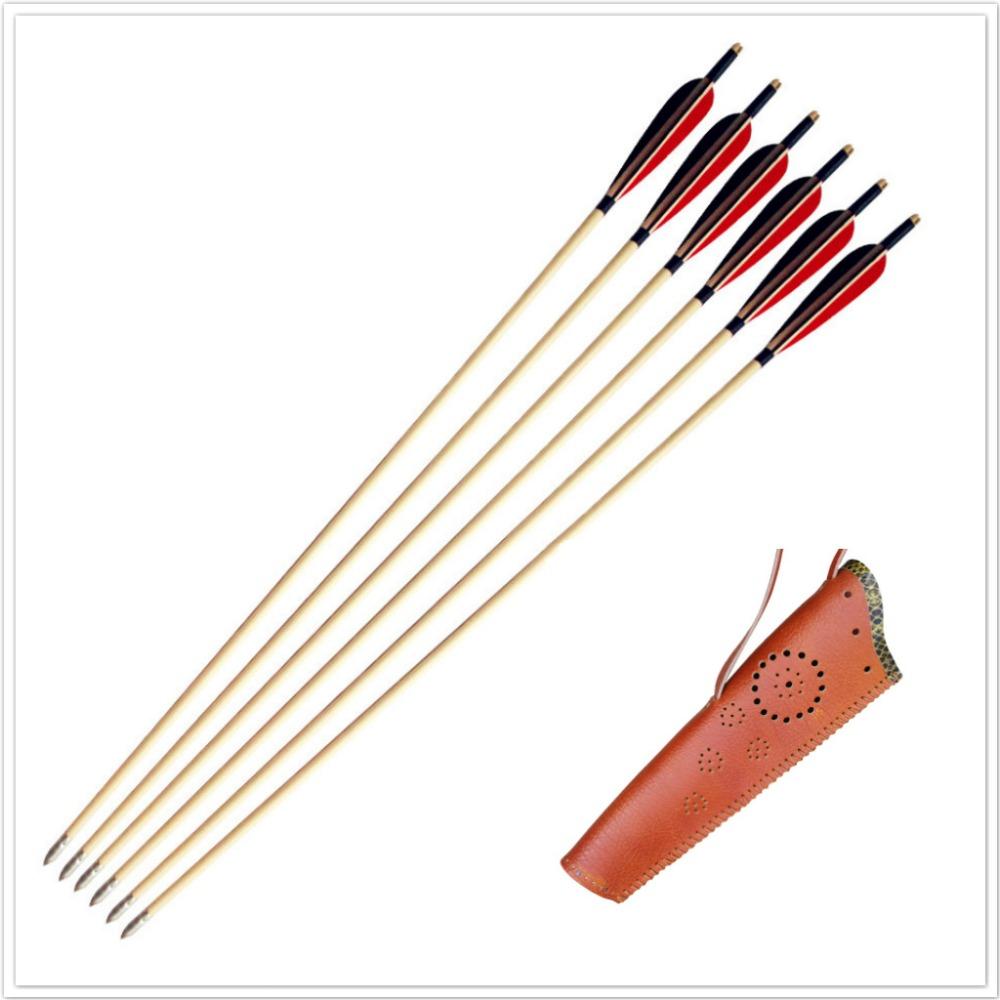 MAYARMS 6pcs Wood Arrows Archery Arrows Hunting Arrows Longbow Arrows Turkey Feather Archery Quiver Arrow Case Color Brown