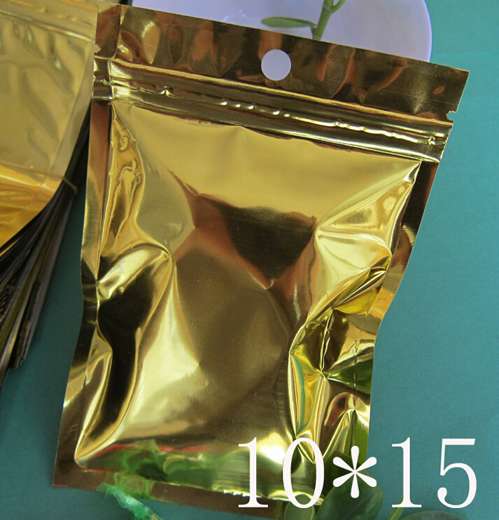 10*15CM gold zip lock bag, Snack Storage , Bakery Packing pouch , bags for bag(China (Mainland))