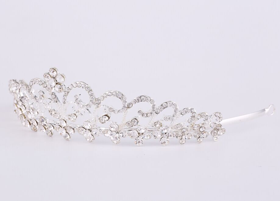 Rhinestone Crystal Flower Bridal Crown Headband Veil Tiara Wedding Headpiece(China (Mainland))