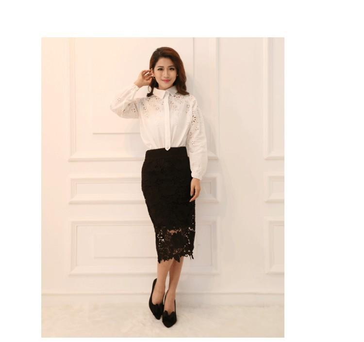 High Quality  A-Line Hollow Out  New Women Skirt White Black SKirt Knee Length Plus SIze S-3XL