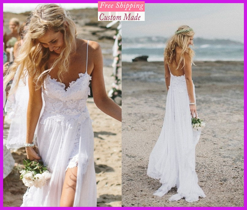 Beach Wedding Dresses Spaghetti Straps Appliques Low Back
