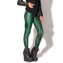 Lgs3145 New Fashion Women's Pants Plus Size Galaxy Tartan Green Digital Print Skinny Leggings For autumn