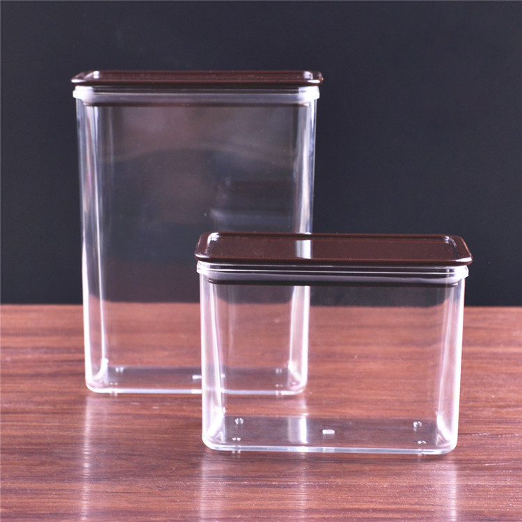 Square plastic sealed tank powder box transparent storage tank special Coffee tea shop Party bean beverage barrel candy jar(China (Mainland))