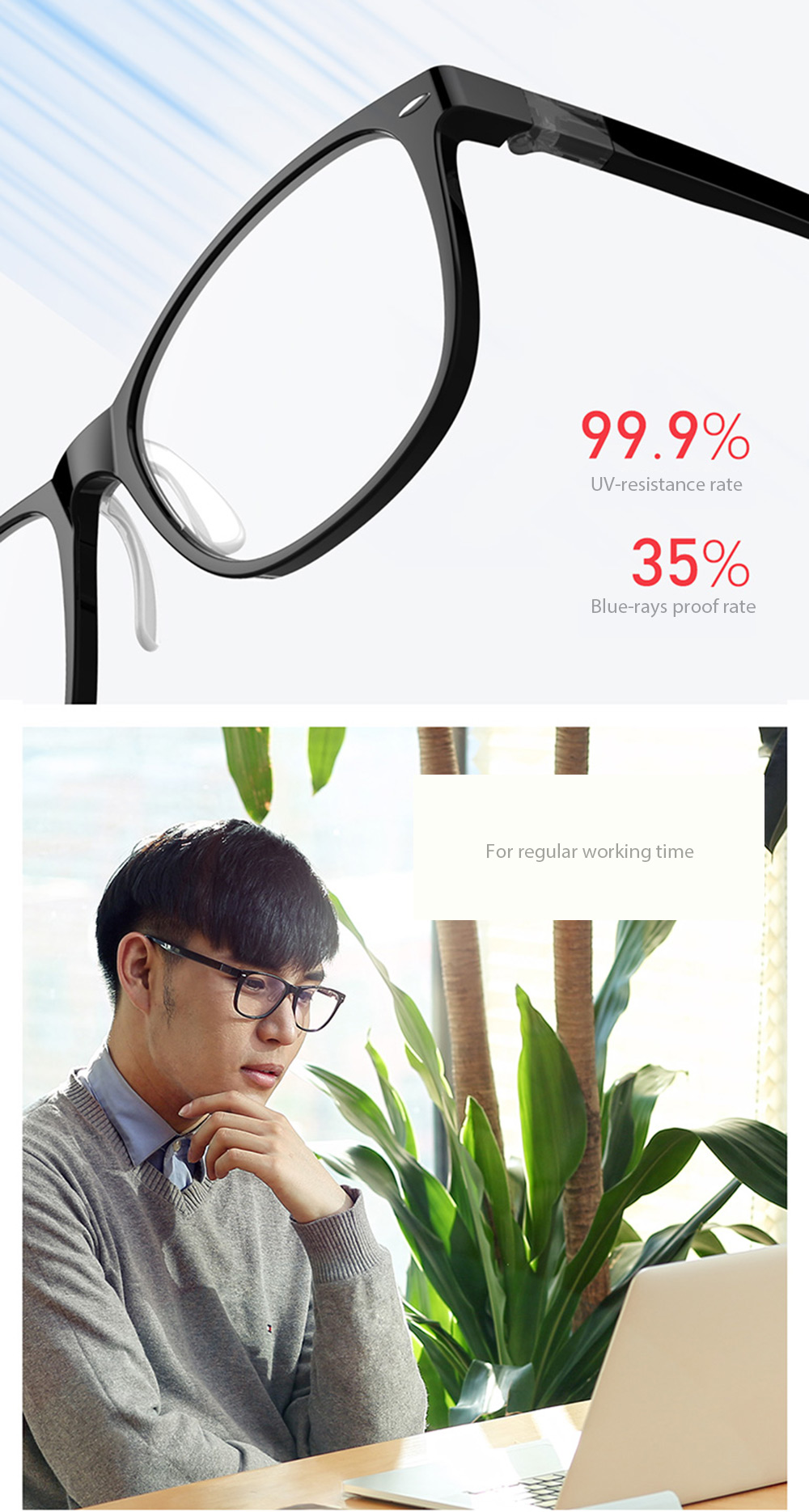 Xiaomi ROIDMI B1Detachable Anti-Blue-Rays Protective Reading Safety Viewing Glasses Computer Radiation Glasses for Men Women