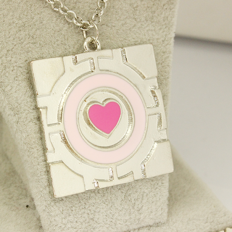 Drop Shipping Pink Heart Chain Enamel Necklace Game Portal2 Nmucho Portal Collar Portal 2 Companion Cube Pendant Necklace Women(China (Mainland))