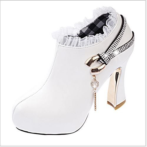 2015 new hot sale women platform high-heeled short boots round diamond woman with high heel ankle boots shoes Martin boots women(China (Mainland))