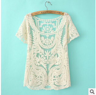 Blusas Femininas Lace Women tshirt Sexy Lace Hollow Out Crochet Mesh T Shirt Women Tops Short Sleeve Tees Woman Clothes(China (Mainland))
