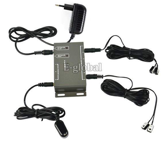 Promotions!! Infrared Remote Extender 4 Emitter 1 Receiver 1 Adapter IR Repeater System Kit Free Shipping 24(China (Mainland))