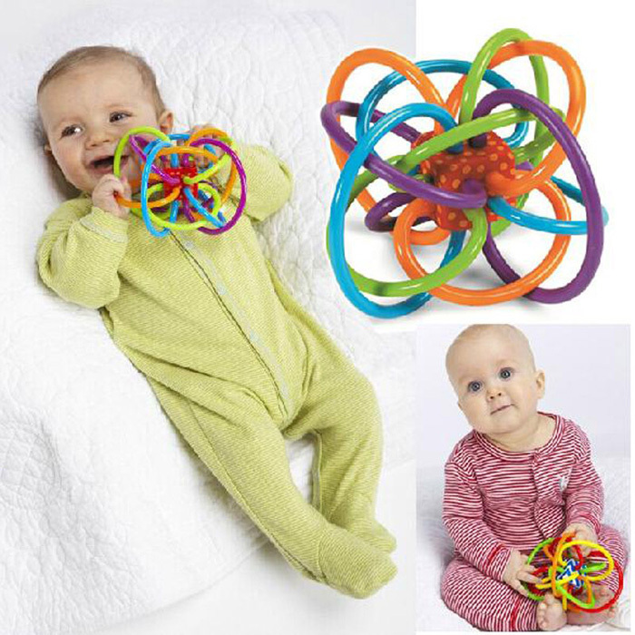 Baby Toy Fun Little Loud Bell Ball Baby ball toy rattles Develop Baby Intelligence Baby Grasping toy Plastic Hand Bell Rattle(China (Mainland))