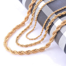 Width 2/4/6mm Stainless Steel Gold Rope Chain Necklace Statement Swag 316L Stainless Steel Twisted Necklace Chain Gold(China (Mainland))