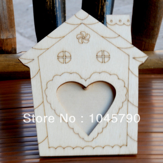 1X House Shape Wood Picture Frame Hand DIY Wood Photo Frame Blank Frame Super Light Clay Mud Accessories(China (Mainland))