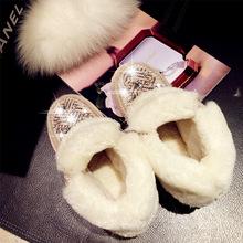 Nuevo invierno de la zalea de la nieve botas de cuero genuino dentro lana Natural mujeres de botas de piso con trenza de paja de diamantes zapatos de mujer(China (Mainland))