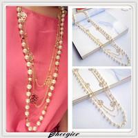 2014 Fashion Bijoux Pearl necklace New Elegant Long Chain necklaces Multilayer 3 pcs Gold Brand Beads Necklaces & pendants