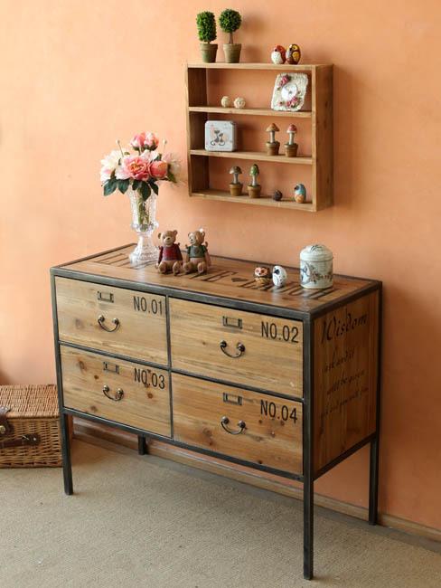 American rural retro iron industry 4 Chests of Drawers creative wood drawer storage cabinets lockers(China (Mainland))