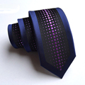 Fashion and Handmade Polyester Blue Slim Tie Business Wedding Party Print Necktie for Suit Shirt Neckwear