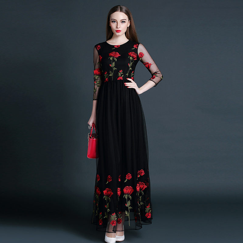 Elegant Tulle Floral Embroidery Long Dress High Quality 2016 Spring Summer Brand Women Maxi Runway Dress Sexy Long Party Dresses