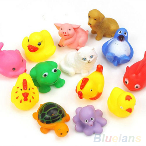 13Pcs Cute Soft Rubber Float Sqeeze Sound Baby Wash Bath Toys Play Animals Toys 1ORA 38ZV(China (Mainland))