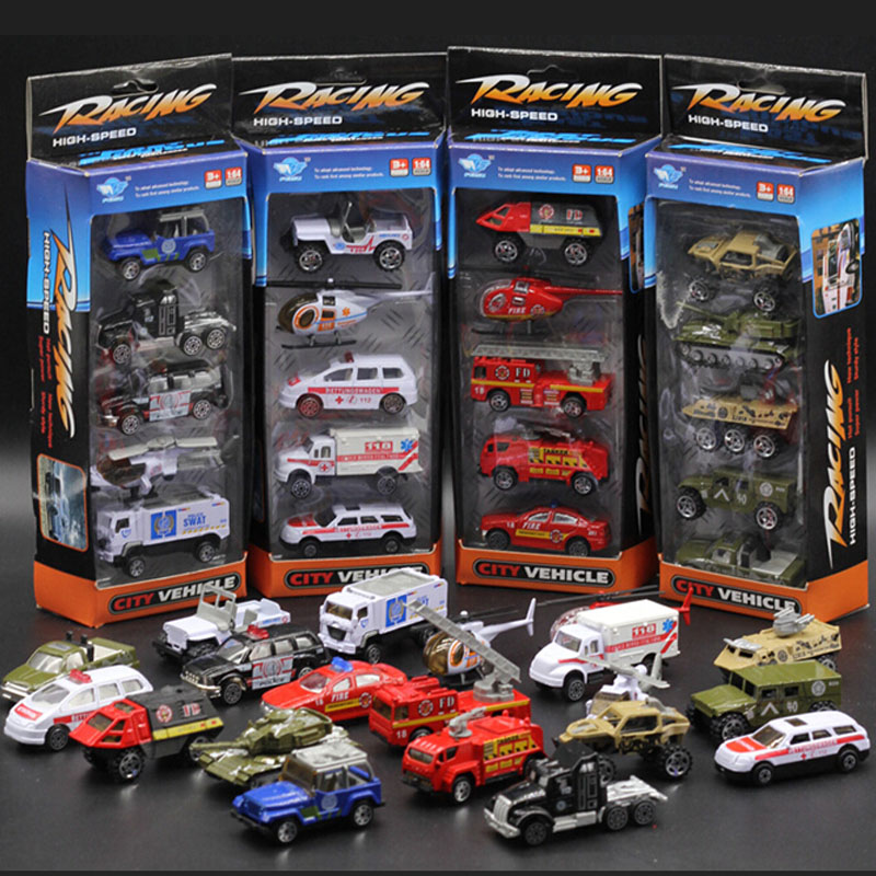 Diecast Alloy car model toy metal material car hot wheels 5 piece set army fireman policy ambulance 4 choice set speelgoed C1001(China (Mainland))