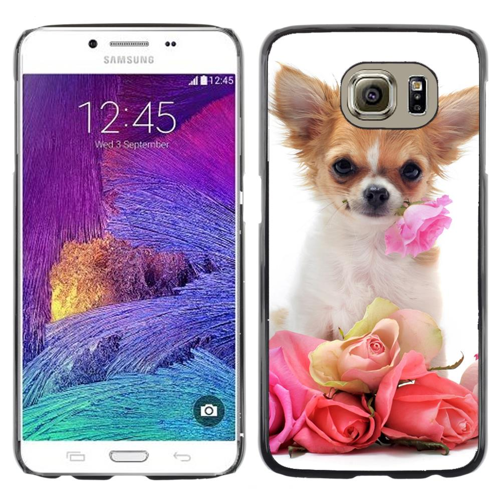 Snap On Hard PC Back Shell Case For  Samsung Galaxy S6 SM-G920-Chihuahua Roses Valentine Dog Pet(S6-3005114)(China (Mainland))