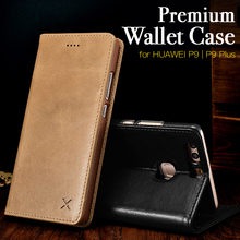 XOOMZ Wallet Leather Case for Huawei P9 / P9 Plus Mobile Phone Folio Cover Side Open Flip Case for P9 5.2 5.5 Inch