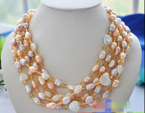 "Free shipping Hot sale >>>>LUSTER 5row 21"" pink baroque cultured pearl faceted citrine necklace(China (Mainland))"