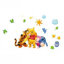 33*60cm New Arrival Winnie The Pooh Cartoon Wall Stickers Children's Bedroom Nursery Baby Creative Poster HG-WS-20303(China (Mainland))