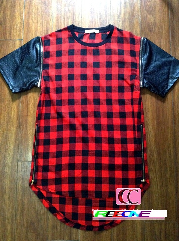 Hot red 2015 hiphop rap kanye west style men Tshirt Tyga short sleeve tee extended dress T Shirt golden zipper Leather T Shirt(China (Mainland))