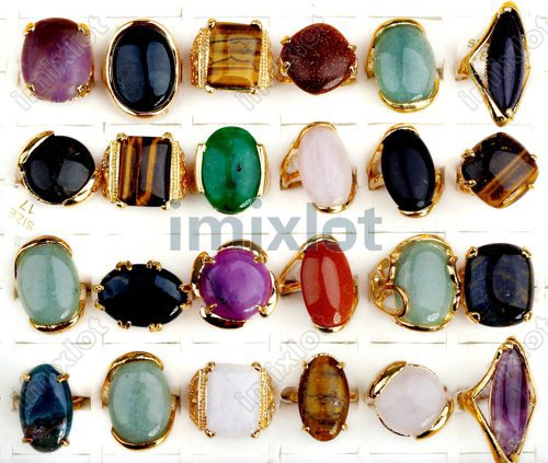Wholesale Jewerly Lots 20pcs Vintage Gold Plated 100% Natural Stone Fashion Rings Wedding Rings Free Shipping