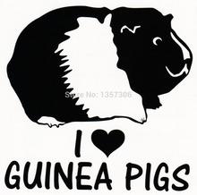 Wholesale 50 pcs/lot I Love Guinea Pigs Sticker Car Window Truck Bumper Auto SUV Door Vinyl Decal 9 Colors