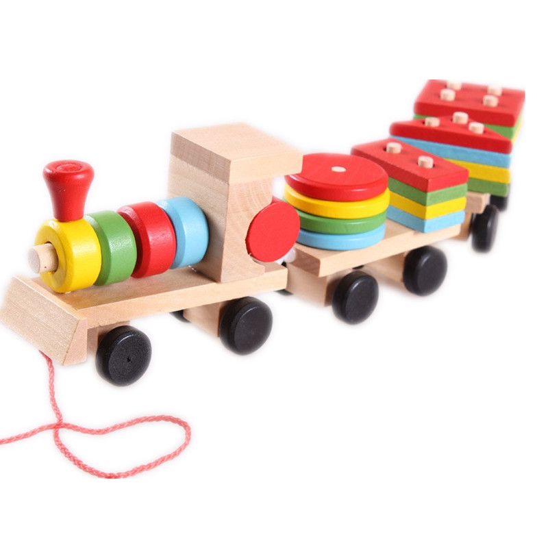 Baby Toys Kids Trailer Wooden Train Vehicle Blocks Geometry/Colour Congnitive Blocks Child Education Birthday/Christmas Gift<br><br>Aliexpress