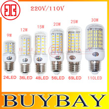 1pcs/lot Brand Smart IC Power E27 Led Light 5730 220V 24 36 48 56 69 110Leds Corn Bulb lampada led Lamps CE ROHS Lighting