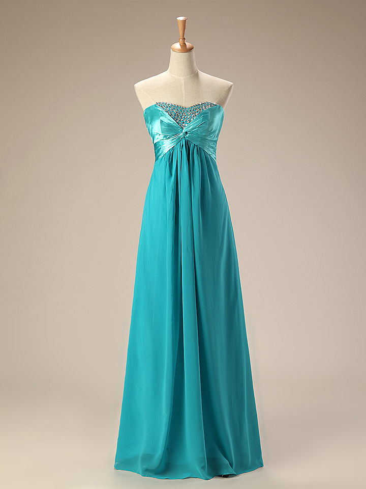 Teal Blue Chiffon Long Evening Dress Sweetheart Strapless