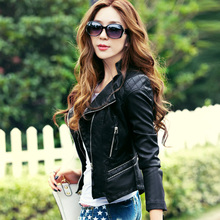 Leather jacket women 2016 new fashion leather coat women short slim motorcycle leather clothing female outerwear black(China (Mainland))