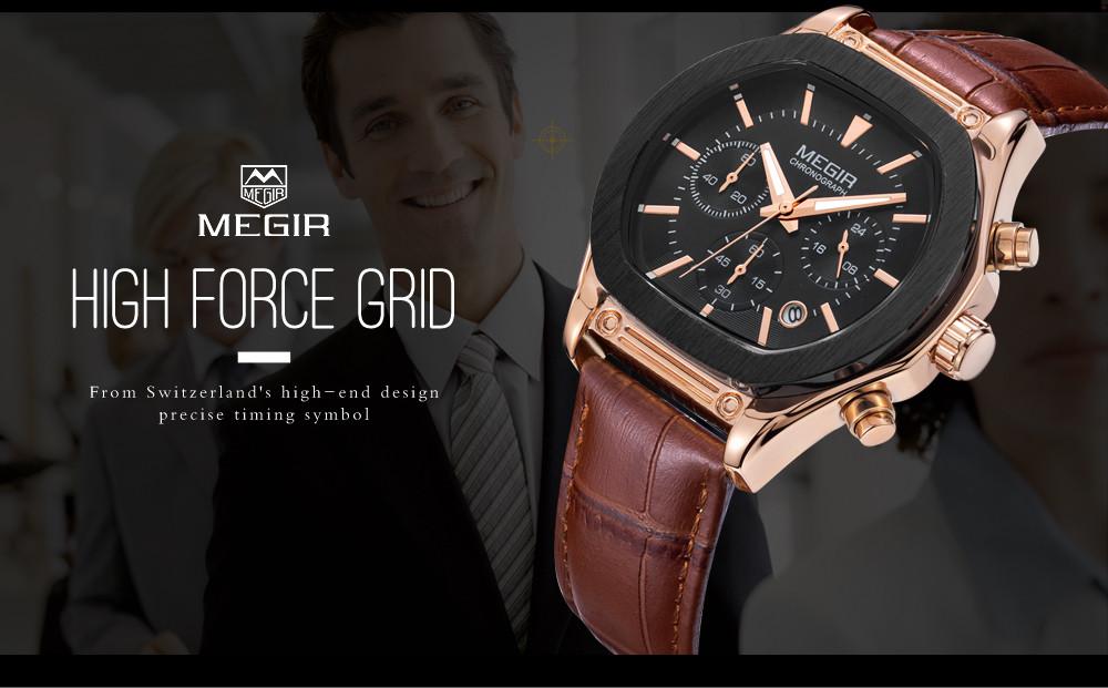 MEGIR мужская Повседневная Часы Хронограф 3D Гравировкой Наберите 24 Часов Функция Водонепроницаемый Военная Спортивные Часы relogio masculino