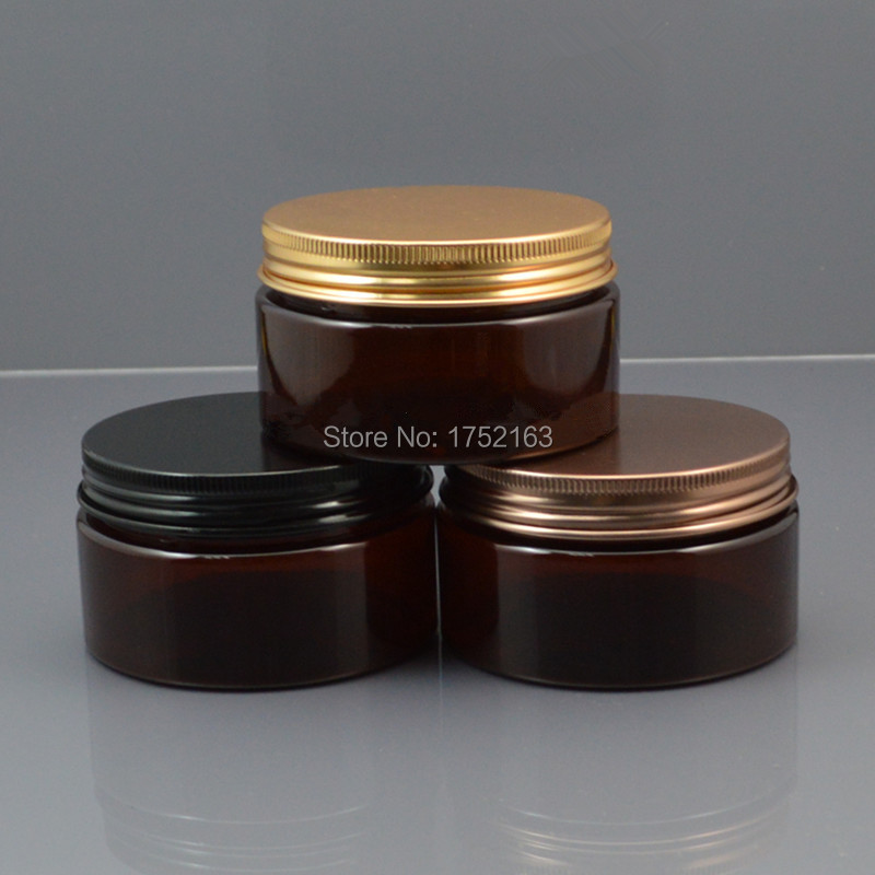 100G Brown PET cream jars,cosmetic container,cream Bottles,Cosmetic Jars black Bronze Gold lid ,50 PCS/LOT - Mini packing world store