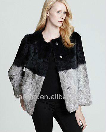 YR-846 New Arrive Genuine Rabbit Conbimed Color O-neck Fur Jacket~~OEM~Retail - Tongxiang Yanran Factory store