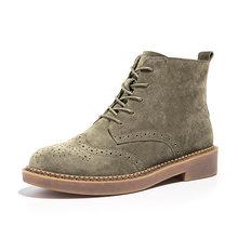 BeauToday yarım çizmeler kadın Brogue tarzı hakiki deri domuz süet el yapımı dantel marka bayan moda ayakkabılar 04017(China)
