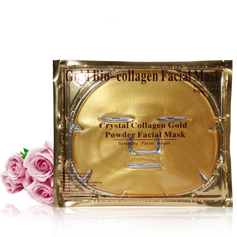 Gold Bio-Collagen Mask Face Mask Crystal Gold Powder Collagen Face Mask Moisturizing Anti-aging 5/lot(China (Mainland))