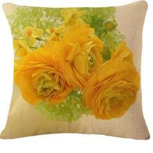 Cotton Linen Yellow Rose Warm Hand Pillow Cushion