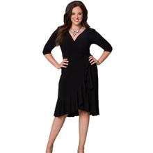 Buy 4XL 5XL 6XL Large Plus Size Women Clothing Black Ruffles Dress Sexy V Neck Knee Length Party Dresses Clothes Vestido De Renda for $17.98 in AliExpress store