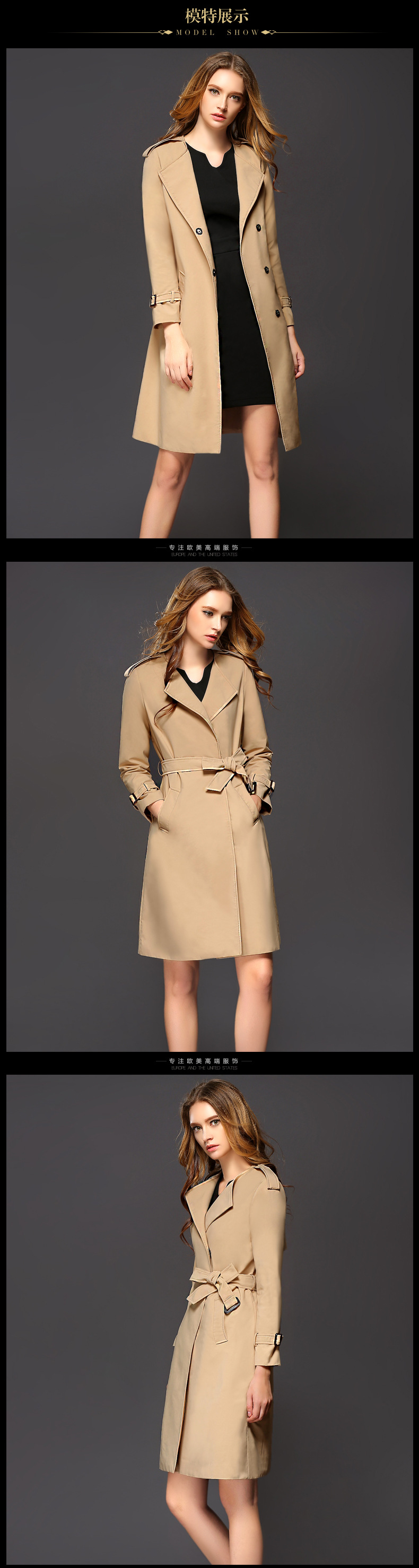 2016 High Quality Fall Winter Fashion Trench Coat For Women Casual Ladies Ol Overcoat Slim Long Windbreaker With Belt Clothing