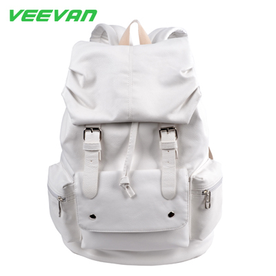 Veevan 2015 men women backpack School Bags High Quality Casual Bags shoulder bag PU leather backpacks black backpack wholesale(China (Mainland))